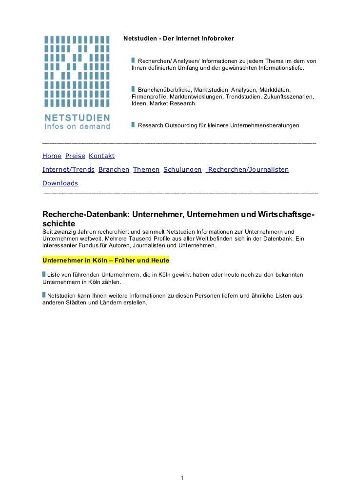 Netstudien - Der Internet Infobroker                                  Recherchen/ Analysen/ Informationen zu jedem Thema i...