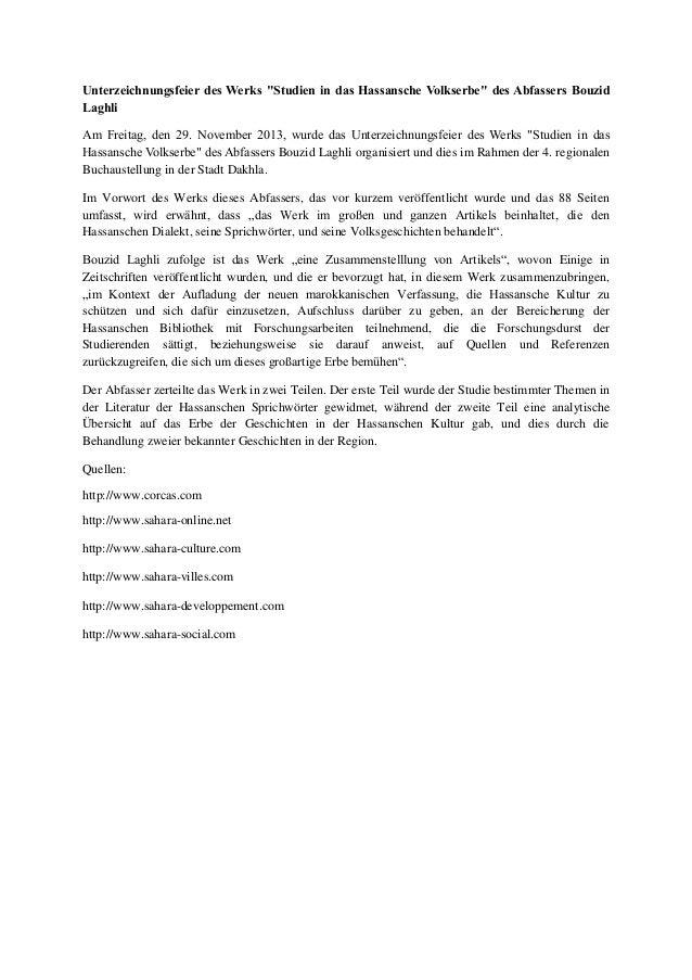 """Unterzeichnungsfeier des Werks """"Studien in das Hassansche Volkserbe"""" des Abfassers Bouzid Laghli Am Freitag, den 29. Novem..."""