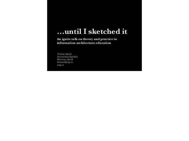 …until I sketched it An ignite talk on theory and practice in information architecture education Thomas Wendt Surrounding ...