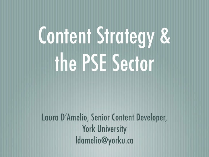 Content Strategy & the PSE Sector