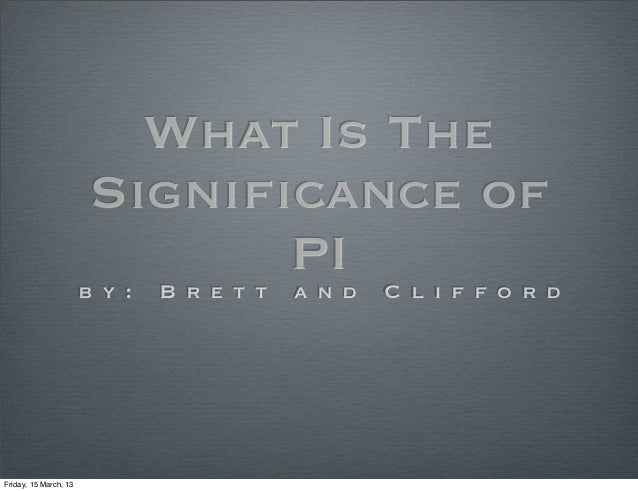 What Is The                        Significance of                                       PId C l i f f o r d              ...