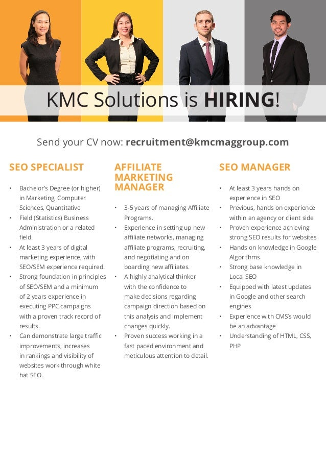 KMC Solutions is HIRING! SEO SPECIALIST • Bachelor's Degree (or higher) in Marketing, Computer Sciences, Quantitative • ...