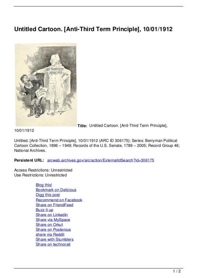Untitled Cartoon. [Anti-Third Term Principle], 10/01/1912                                    Title: Untitled Cartoon. [Ant...