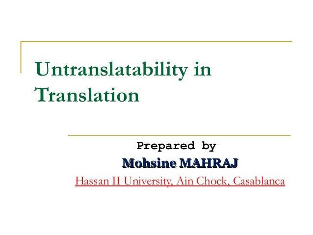Untranslatability in translation