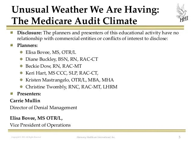 Unusual Weather We Are Having The Medicare Audit Climate