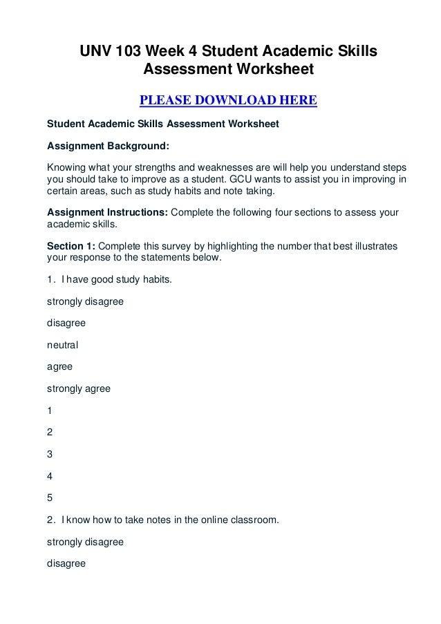 unv 103 week 4 student academic skills assessment worksheet. Black Bedroom Furniture Sets. Home Design Ideas