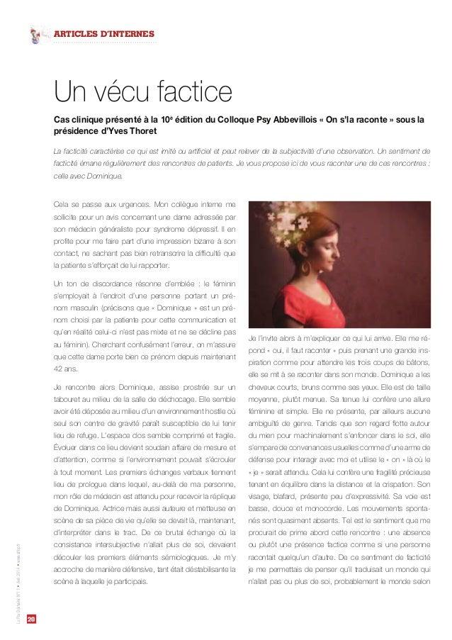 20 LePsyDéchaînéN°11Avril2014www.affep.fr ARTICLES D'INTERNES Cas clinique présenté à la 10è édition du Colloque Psy Abbev...