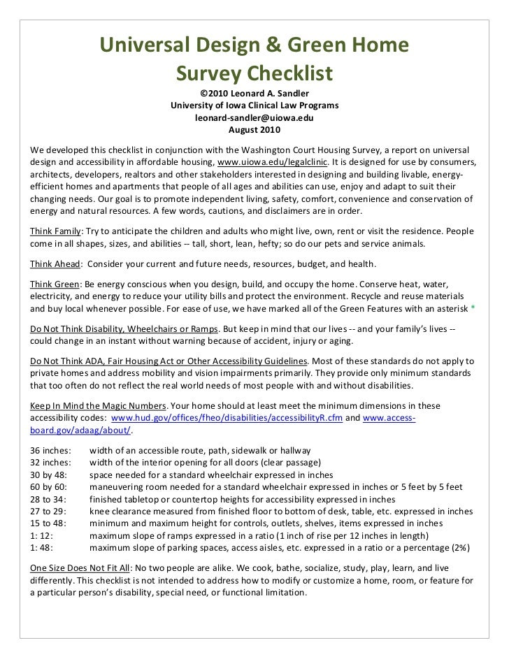 U of iowa universal design green home checklist for Home design checklist