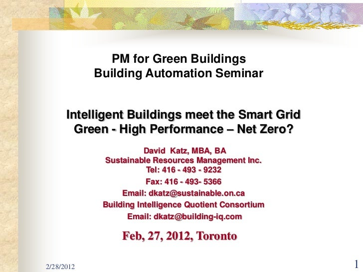 PM for Green Buildings            Building Automation Seminar      Intelligent Buildings meet the Smart Grid        Green ...