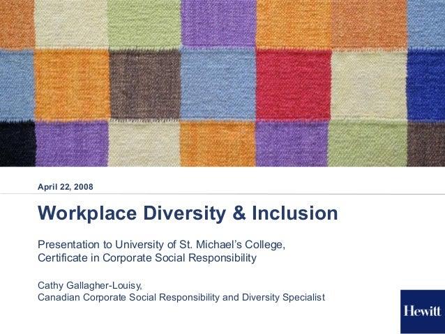 U of T CSR - Diversity Presentation Apr 22, 2008