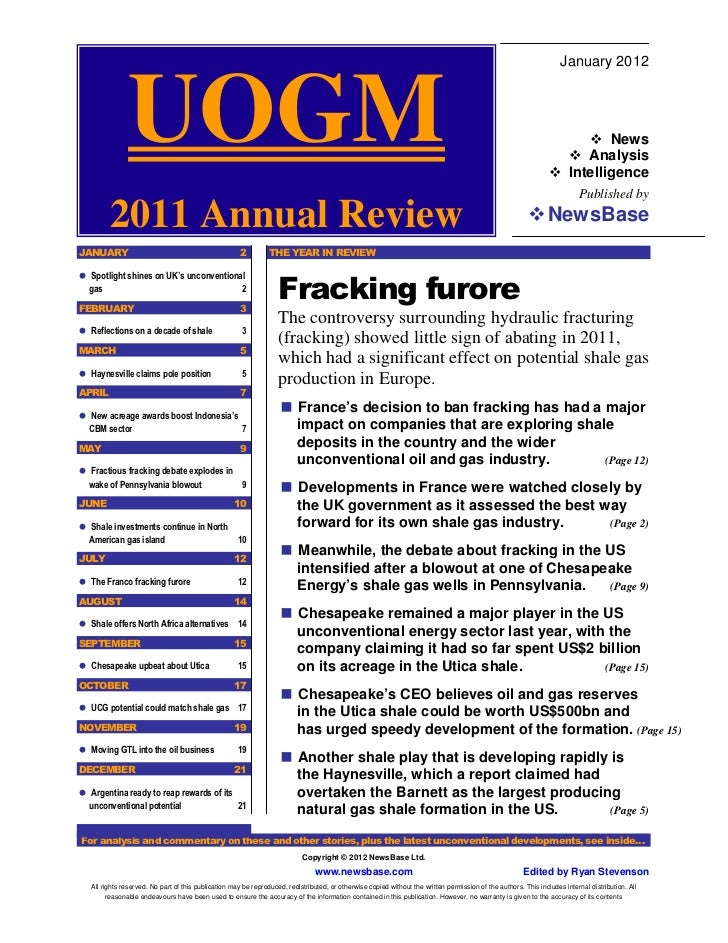 Unconventional Oil & Gas -  2011 Annual Review