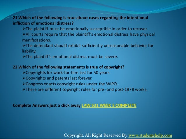 law 531 discussion questions Download: law 531 complete course law 531 week 1 discussion question # 1 - what is one way the us legal system impacts us businesses.