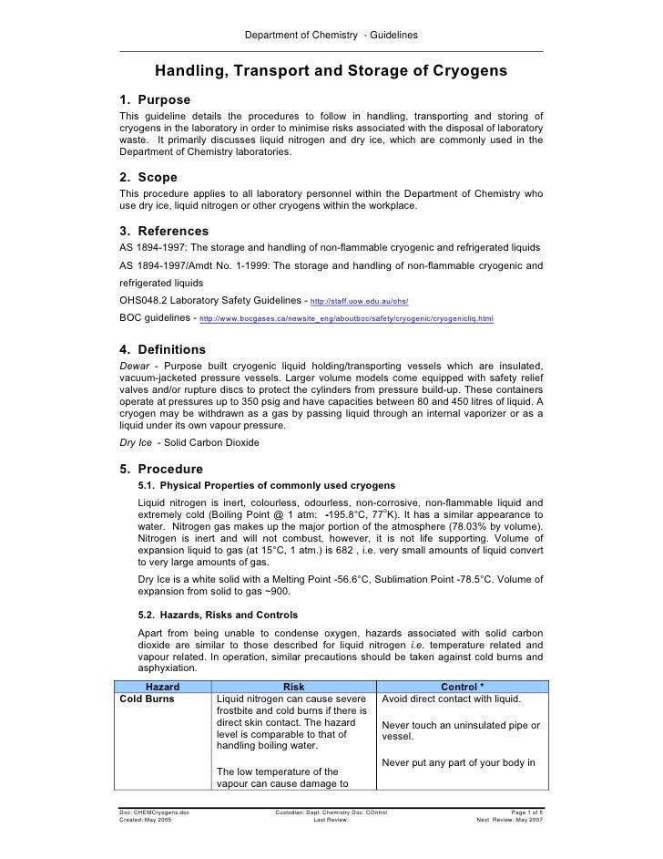 Handling, Transport and Storage of Cryogens  Manipulación, transporte y almacenaje de criogenicos
