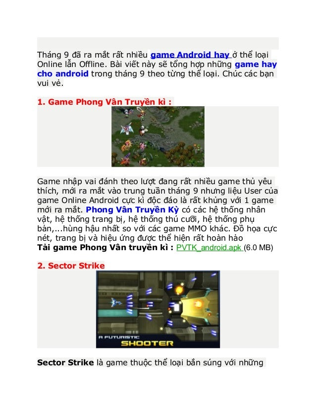 Tổng hợp game android hay cho Android