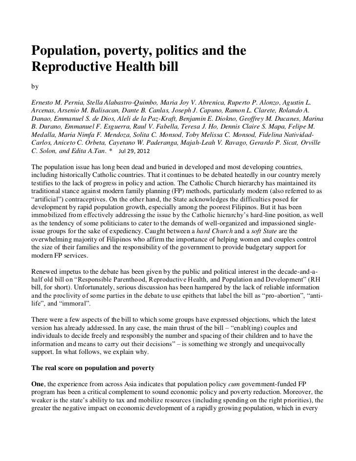 Population, poverty, politics and theReproductive Health billbyErnesto M. Pernia, Stella Alabastro-Quimbo, Maria Joy V. Ab...