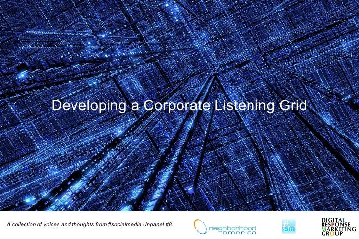 Developing a Corporate Listening Grid     A collection of voices and thoughts from #socialmedia Unpanel #8
