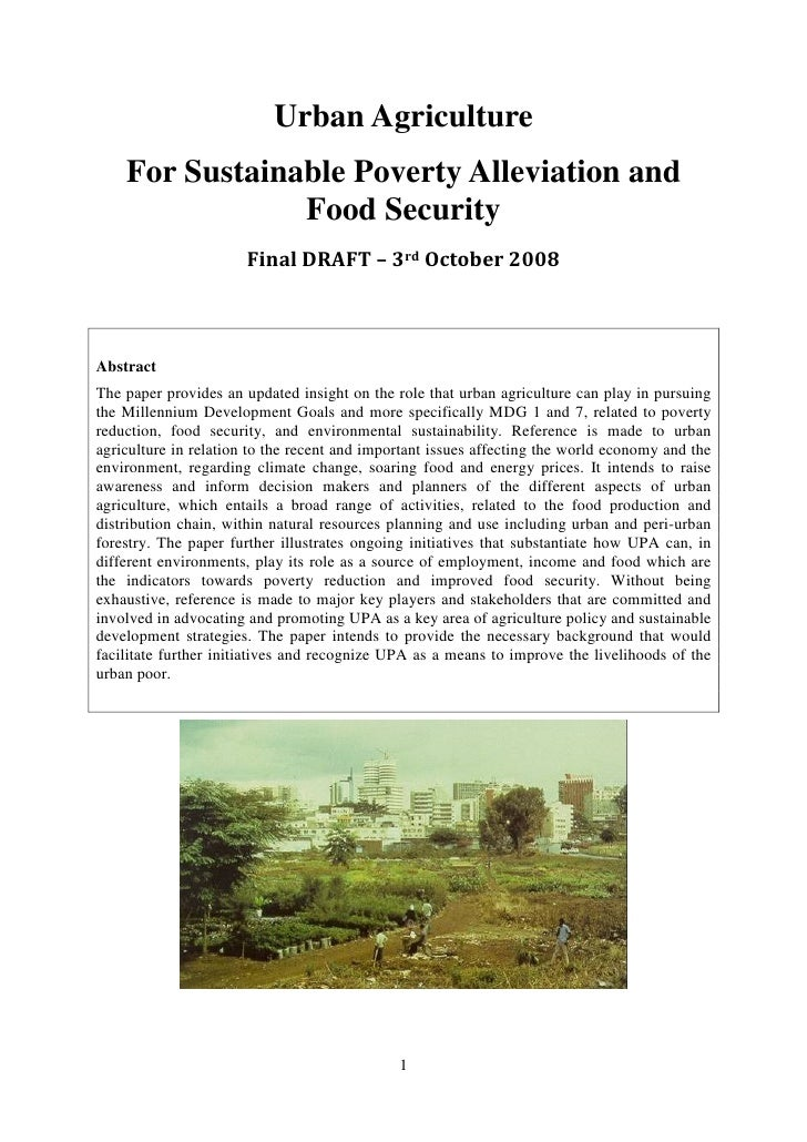 Urban Agriculture    For Sustainable Poverty Alleviation and                Food Security                       Final DRAF...