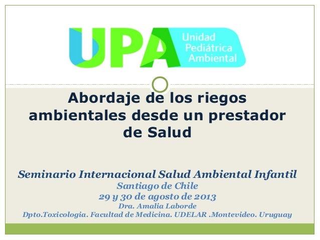 Experiencia de la Unidad Pediatrica Ambiental de Montevideo (A.Laborde)