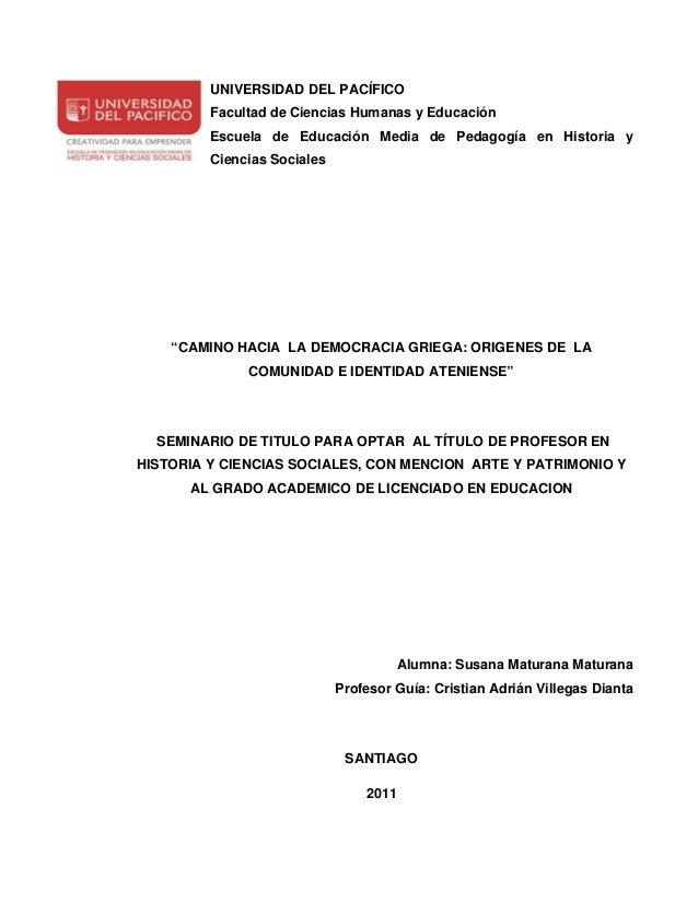 UNIVERSIDAD DEL PACÍFICO         Facultad de Ciencias Humanas y Educación         Escuela de Educación Media de Pedagogía ...