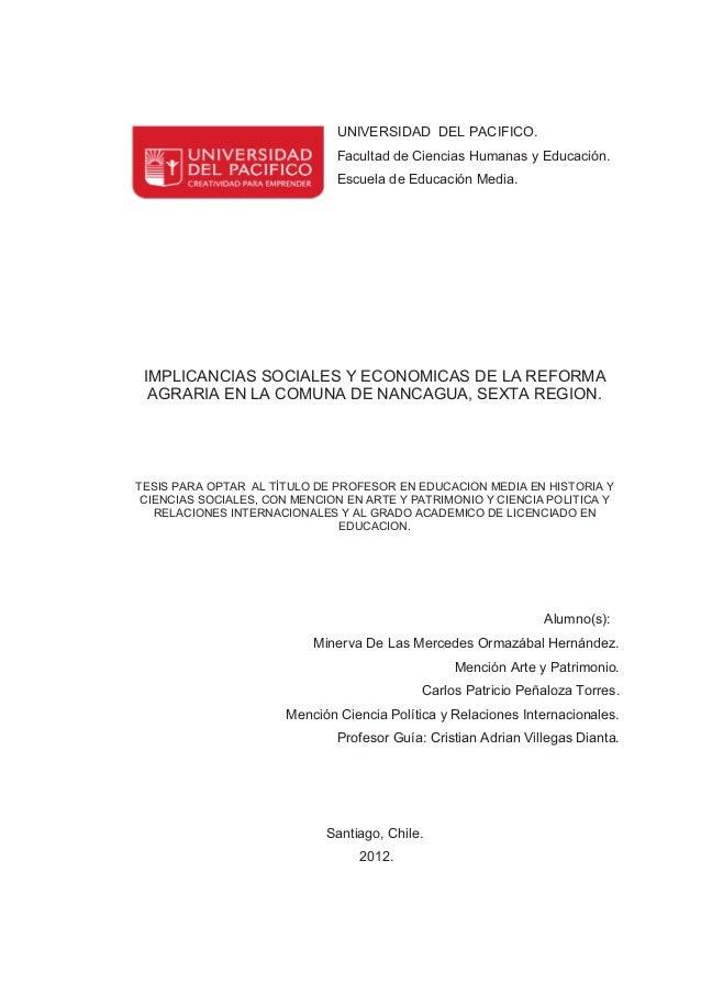UNIVERSIDAD DEL PACIFICO.                              Facultad de Ciencias Humanas y Educación.                          ...