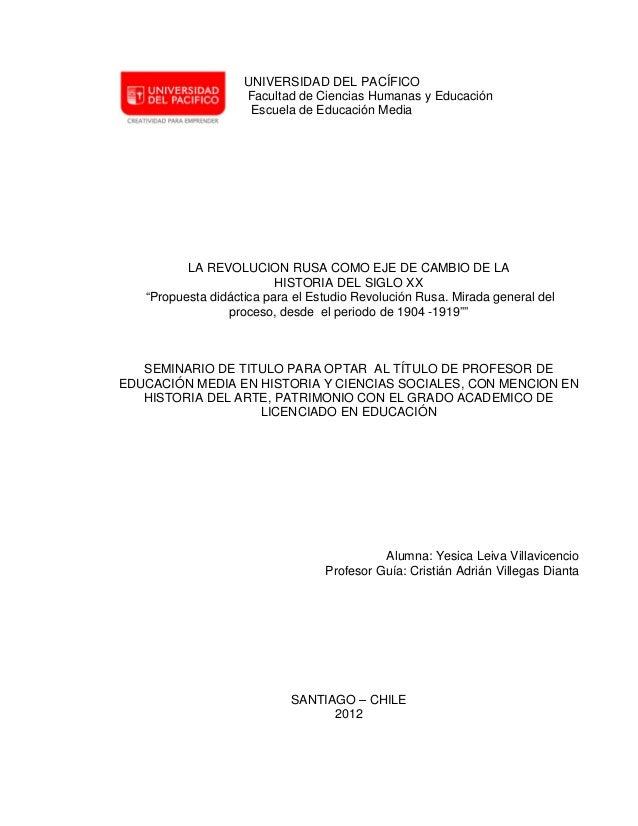 UNIVERSIDAD DEL PACÍFICO                    Facultad de Ciencias Humanas y Educación                     Escuela de Educac...