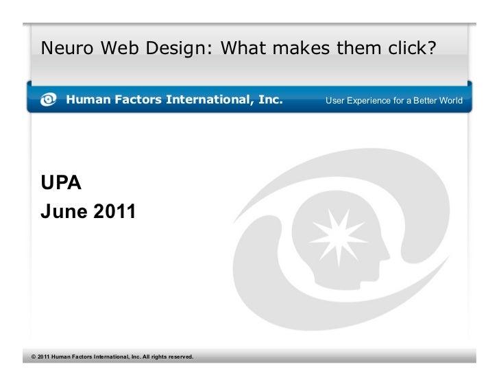 Neuro Web Design Talk, UPA 2011