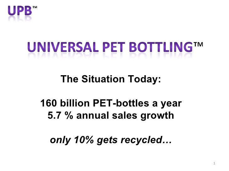 The Situation Today: 160 billion PET-bottles a year 5.7 % annual sales growth only 10% gets recycled…