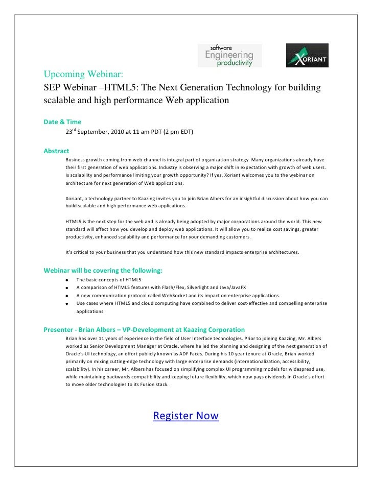 Upcoming Webinar: SEP Webinar –HTML5: The Next Generation Technology for building scalable and high performance Web applic...