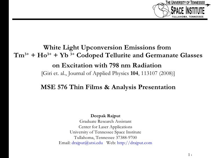 White Light Upconversion Emissions from  Tm 3+  + Ho 3+  + Yb  3+  Codoped Tellurite and Germanate Glasses on Excitation w...
