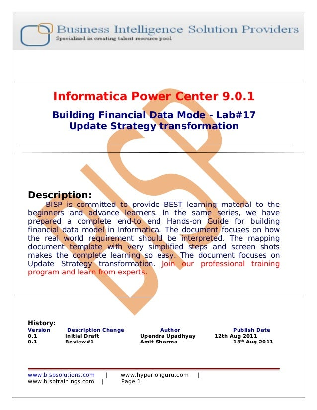 Informatica Power Center 9.0.1          Building Financial Data Mode - Lab#17             Update Strategy transformationDe...