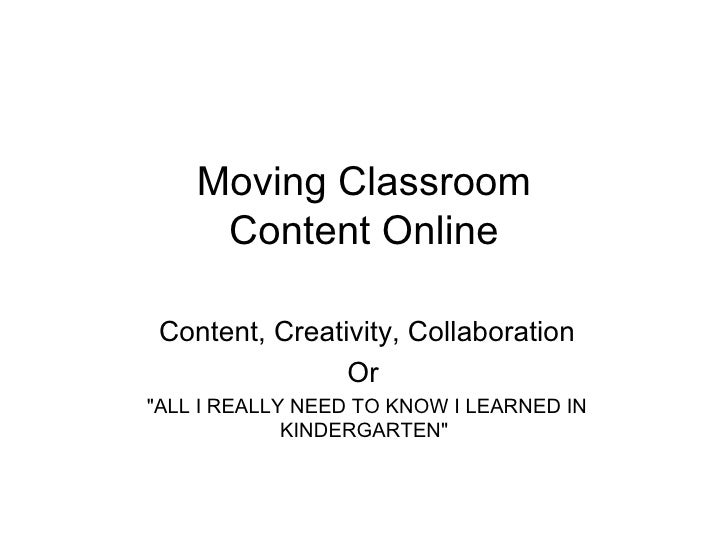 Update to Moving Content On-Line