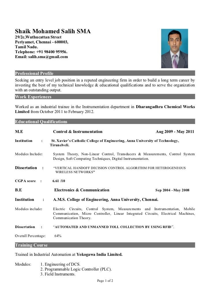 instrumentation engineer resumes
