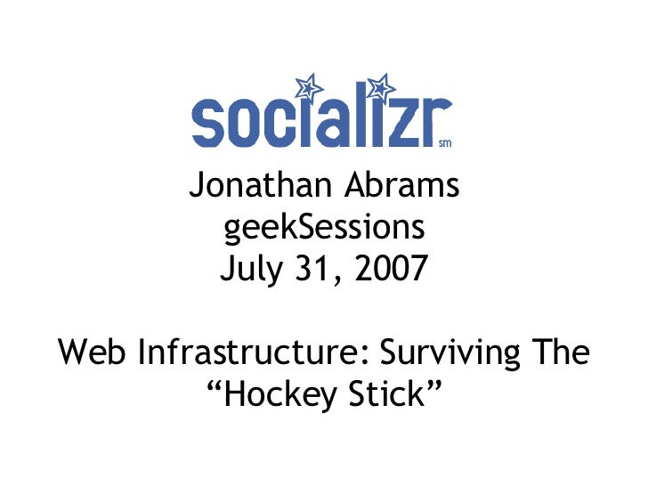 """Jonathan Abrams geekSessions July 31, 2007 Web Infrastructure: Surviving The """"Hockey Stick"""""""
