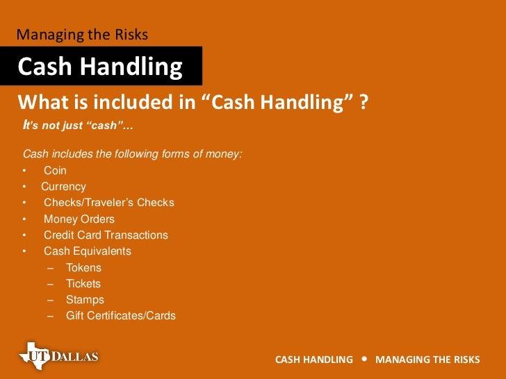 cash handling risk management. Black Bedroom Furniture Sets. Home Design Ideas