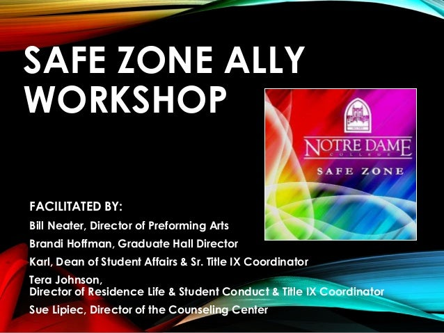 Safe Zone Ally Workshop adapted for Notre Dame College