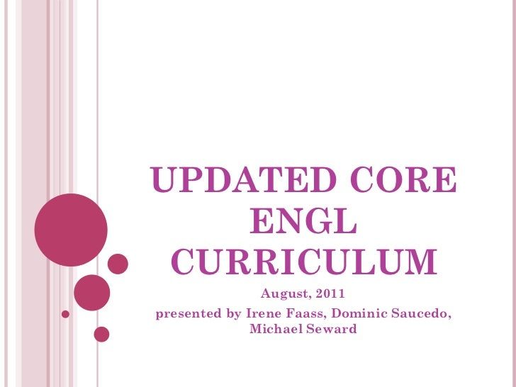 Updated core engl curriculum