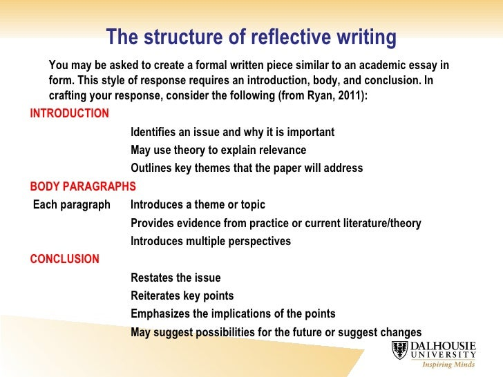 Critical Reflective Writing ... 13. The structure of reflective ...