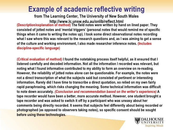 an example of a reflective essay Example 1 reflection essay as i sit down to reflect on my time in the english major at berry, i'm roughly three months removed from my last english class at the moment, i'm in the middle of a semester- long student teaching experience at armuchee high school, finishing out my secondary education minor and.
