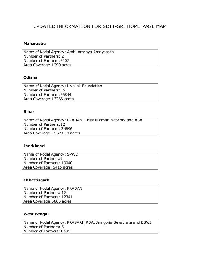 UPDATED INFORMATION FOR SDTT-SRI HOME PAGE MAPMaharastraName of Nodal Agency: Amhi Amchya ArogyasathiNumber of Partners: 2...