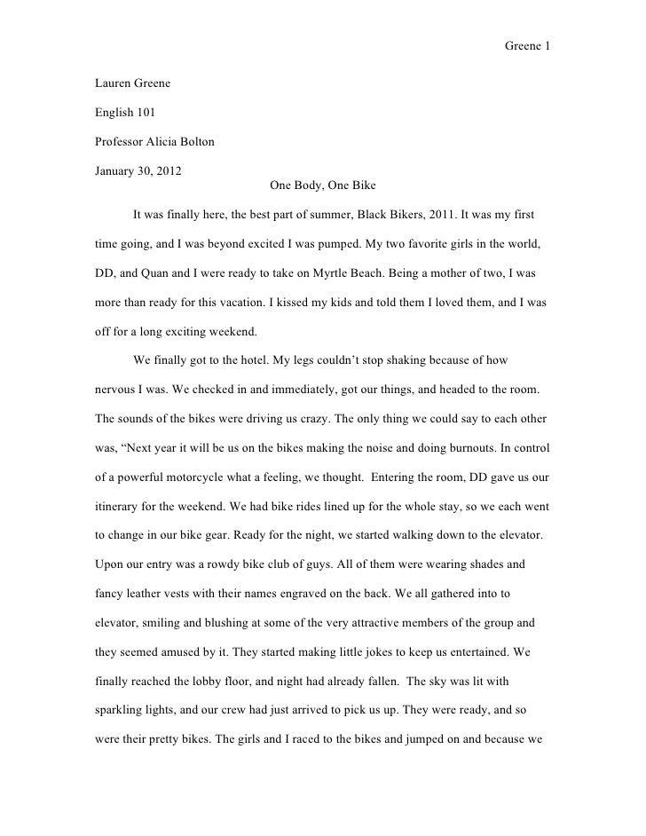 Greene 1Lauren GreeneEnglish 101Professor Alicia BoltonJanuary 30, 2012                                   One Body, One Bi...
