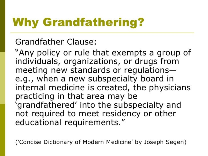 Grandfathering definition