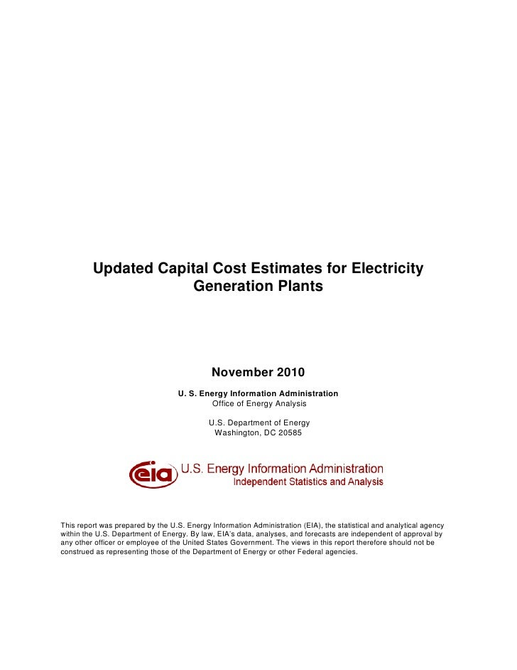 Updated Capital Cost Estimates for Electricity                      Generation Plants                                     ...