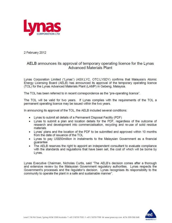 Lynas Receives Temporary Operating License from AELB