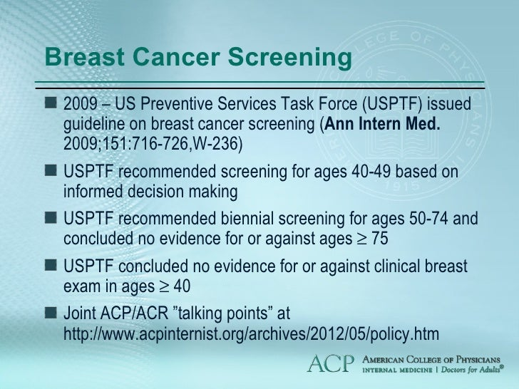 Breast Cancer Screening  US Preventive Services Task Force