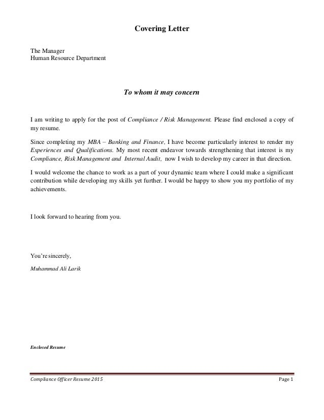 Cover Letter » Cover Letter Compliance Officer - Cover Letter and ...