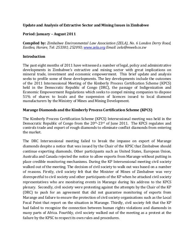 Update of recent developments in zimbabwes extractive and mining sector
