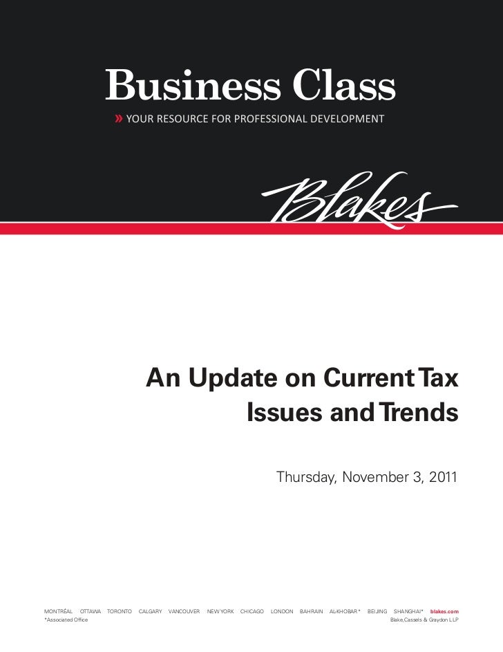 An Update on Current Tax                                         Issues and Trends                                        ...
