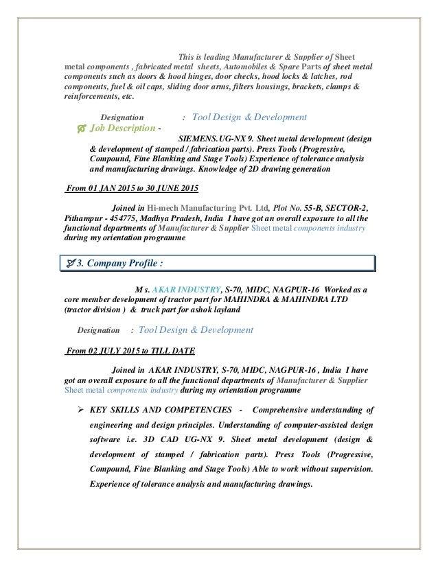 sample resume design engineer india