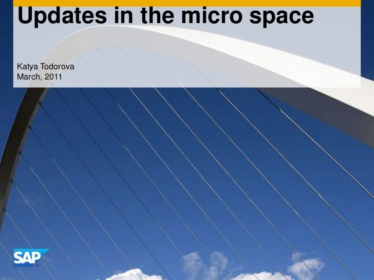 Updates in the micro space<br />Katya Todorova<br />March, 2011<br />