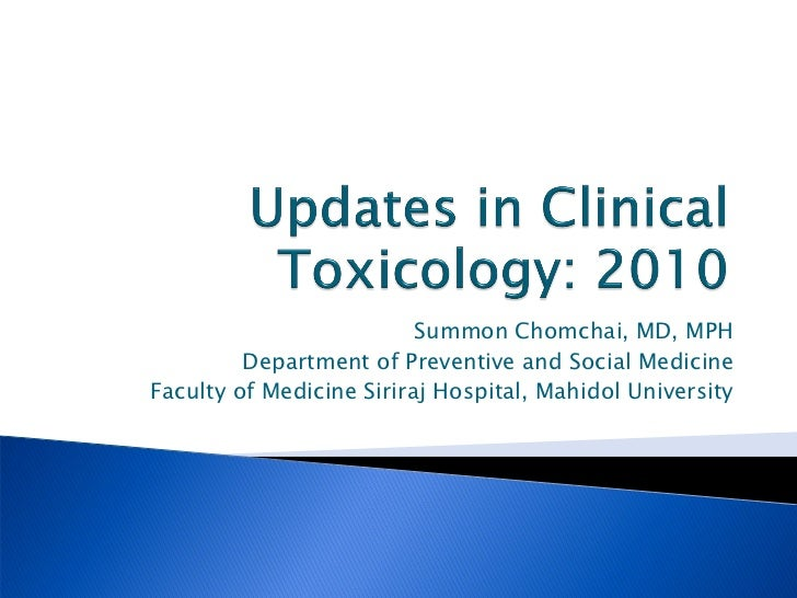 Summon Chomchai, MD, MPH         Department of Preventive and Social MedicineFaculty of Medicine Siriraj Hospital, Mahidol...
